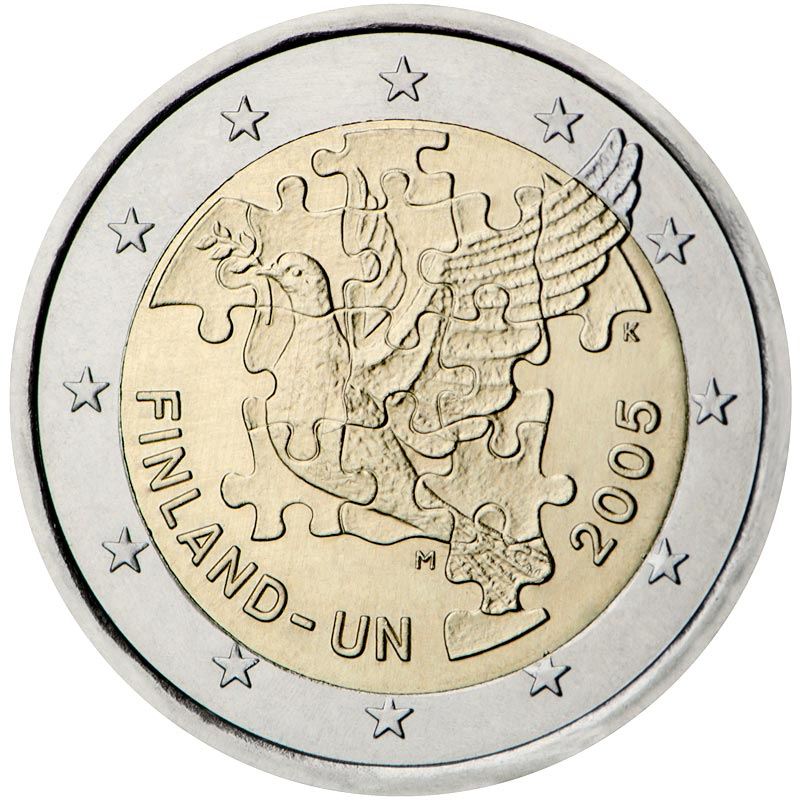 Image of 2 euro coin – 60th Anniversary of the Establishment of the United Nations and 50th Anniversary of Finland's UN Membership | Finland 2005