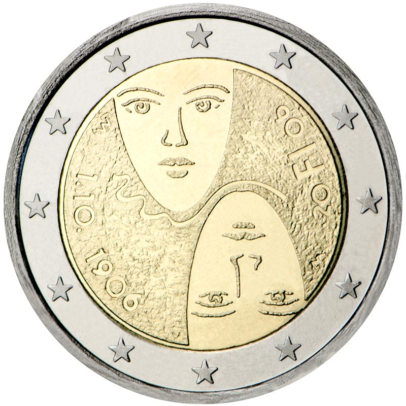 Image of 2 euro coin 1st Centenary of the Introduction of Universal and Equal Suffrage | Finland 2006