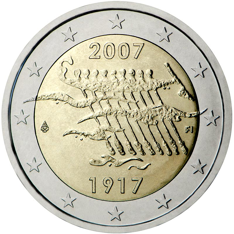 Image of 2 euro coin 90th Anniversary of Finland's Independence | Finland 2007