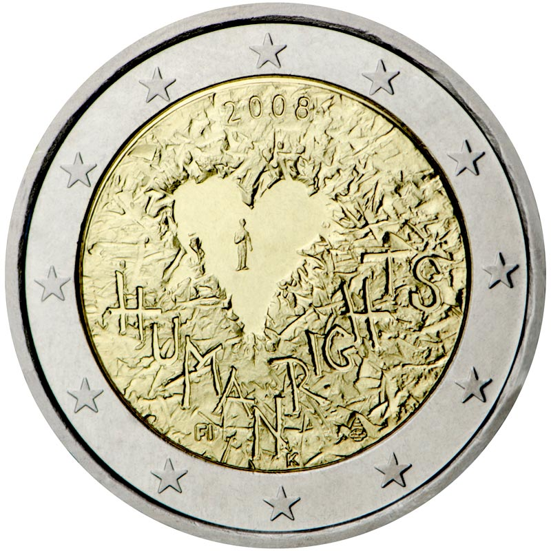 Image of 2 euro coin – 60th Anniversary of the Universal Declaration of Human Rights | Finland 2008