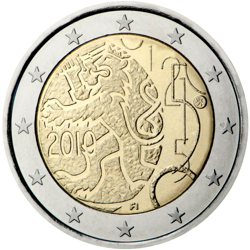 Image of a coin 2 euro | Finland | 150th anniversary of Finnish currency | 2010