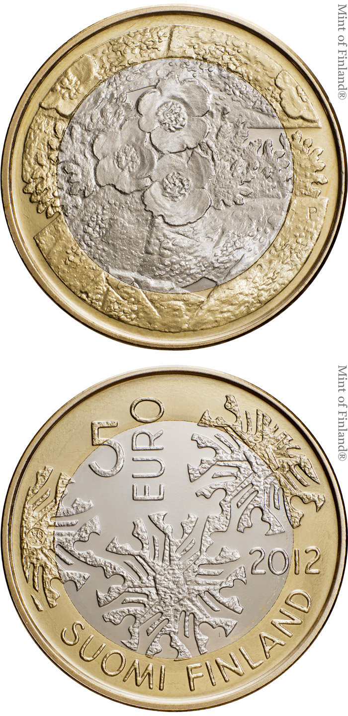 Image of 5 euro coin - Flora | Finland 2012.  The Bimetal: CuNi, nordic gold coin is of Proof, UNC quality.