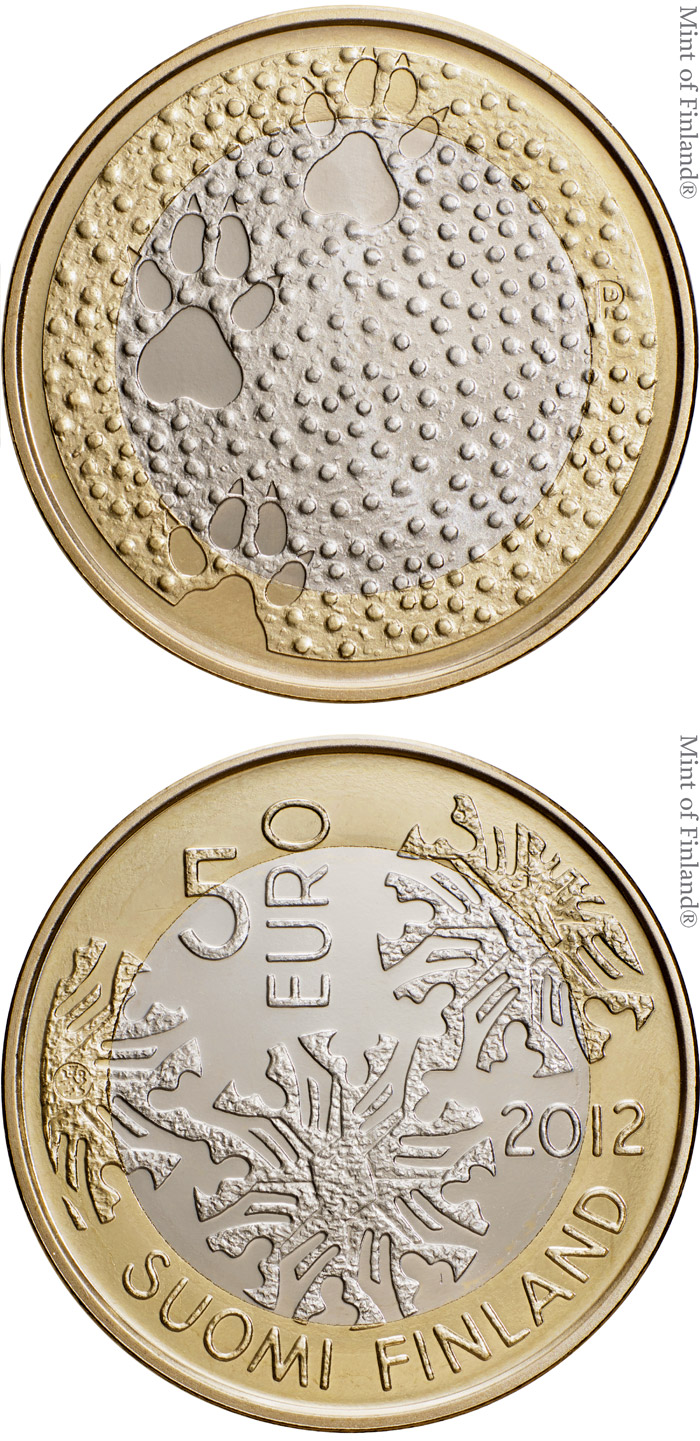 Image of 5 euro coin - Fauna | Finland 2012.  The Bimetal: CuNi, nordic gold coin is of Proof, UNC quality.