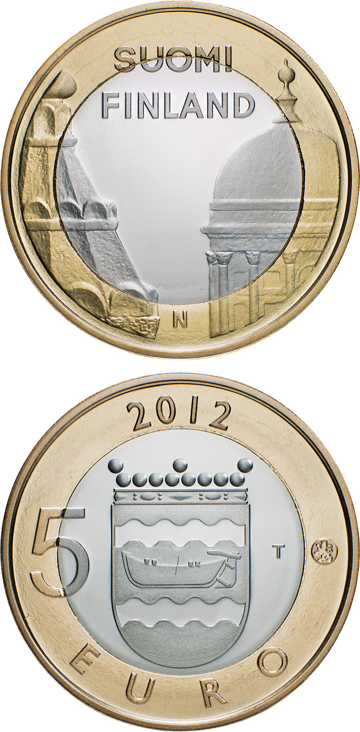 Image of 5 euro coin - Uusimaa: Helsinki Cathedrals and Uspenski Cathedrals | Finland 2012.  The Bimetal: CuNi, nordic gold coin is of Proof, BU quality.