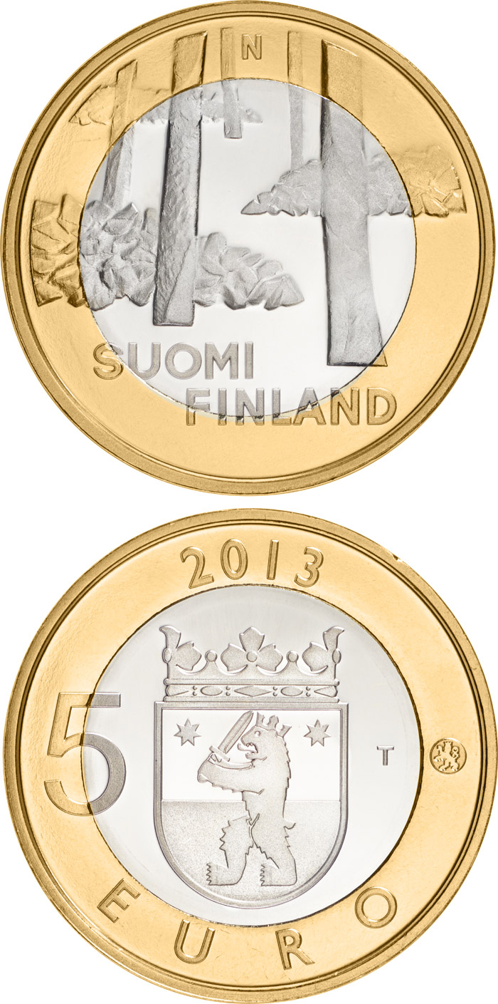Image of 5 euro coin Satakunta: Sammallahdenmäki | Finland 2013.  The Bimetal: CuNi, nordic gold coin is of Proof, BU quality.
