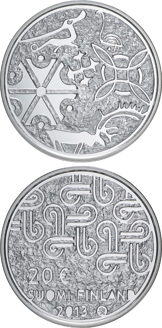 Image of 20 euro coin - Multiculturalism | Finland 2013.  The Silver coin is of Proof, BU quality.