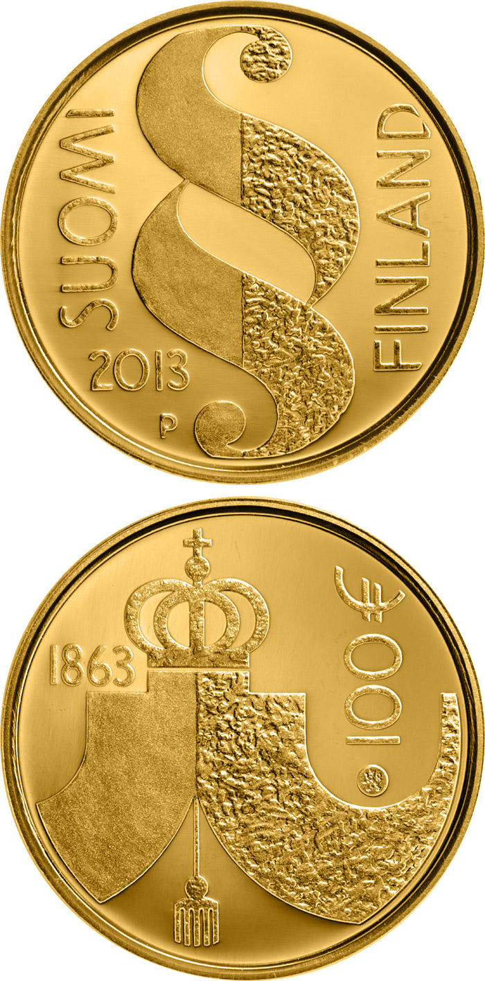 Image of 100 euro coin - The Diet of 1863 | Finland 2013.  The Gold coin is of Proof quality.