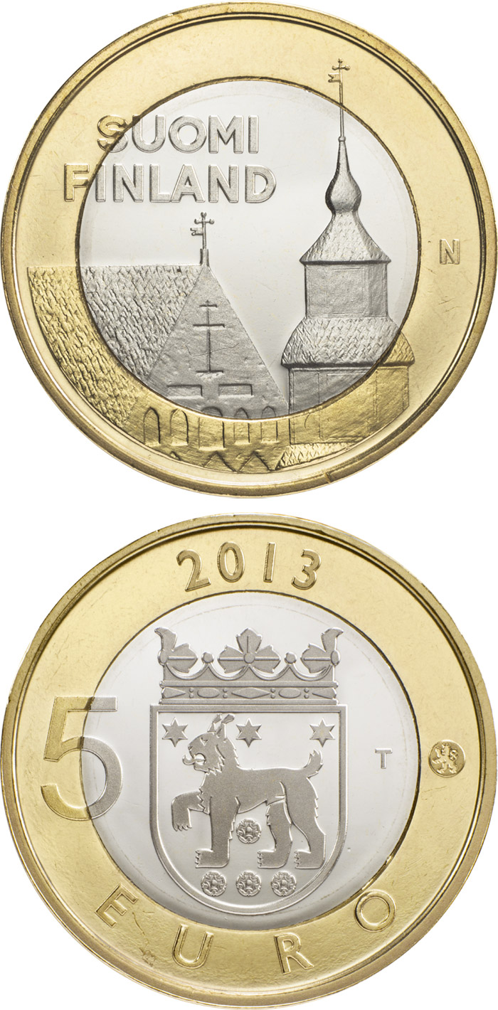 Image of 5 euro coin - Tavastia: Häme | Finland 2013.  The Bimetal: CuNi, nordic gold coin is of Proof, BU quality.