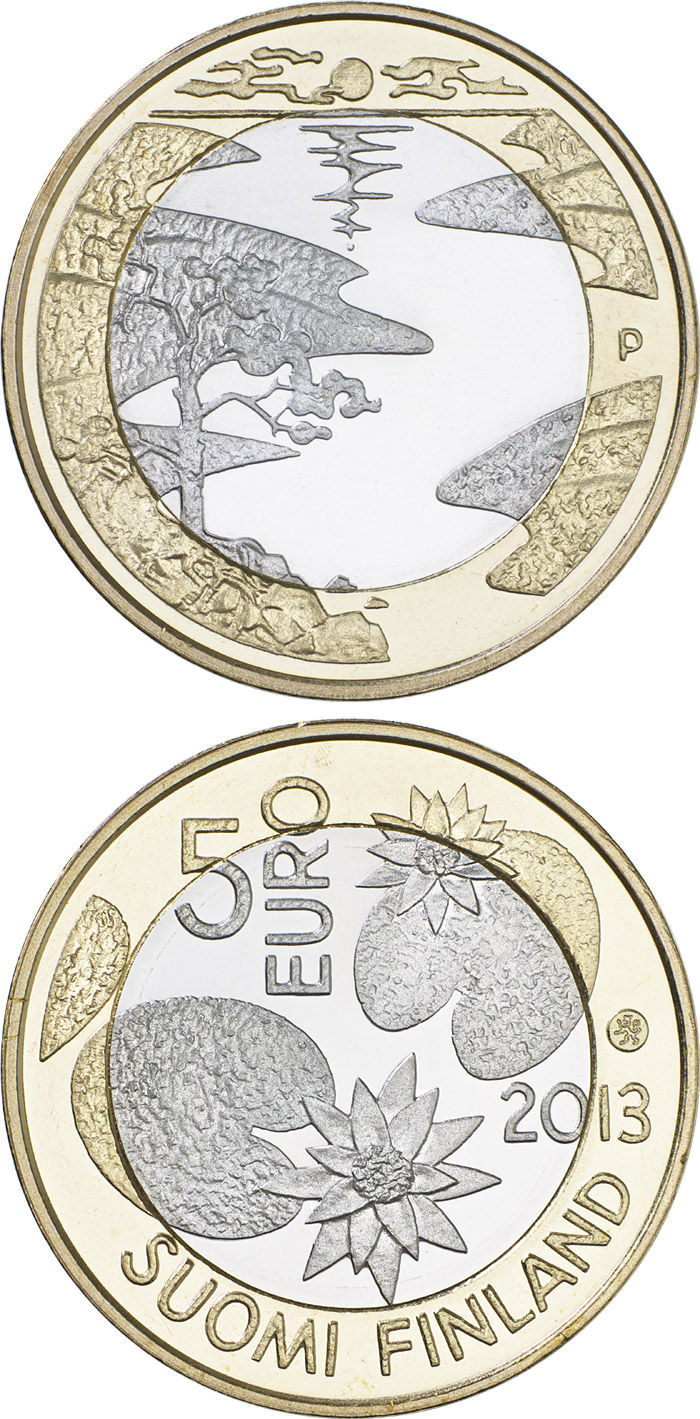 Image of 5 euro coin - Northern Nature - Summer | Finland 2013.  The Bimetal: CuNi, nordic gold coin is of Proof, UNC quality.