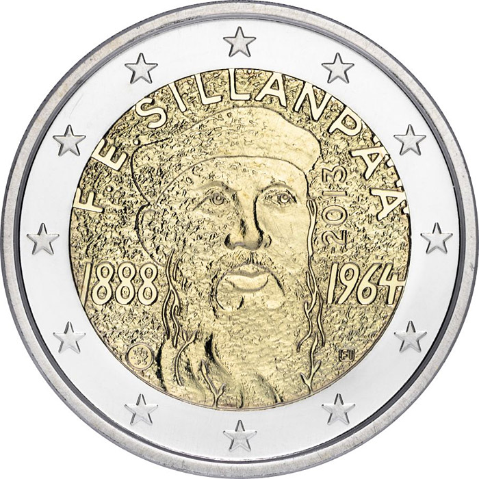 Image of 2 euro coin 125th Anniversary of the birth of Nobel prize winning author F.E.Sillanpaa | Finland 2013