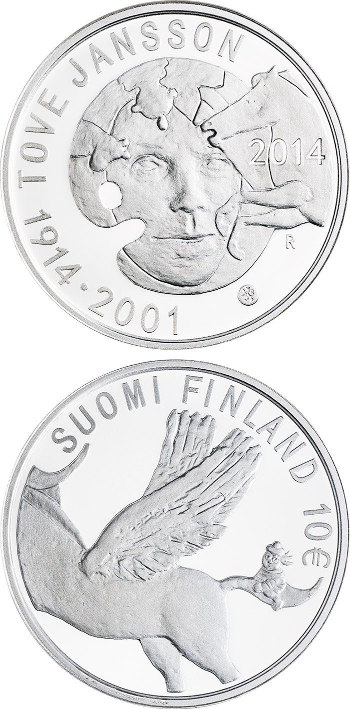 Image of 10 euro coin - 100th Anniversary of the Birth of Tove Jansson | Finland 2014