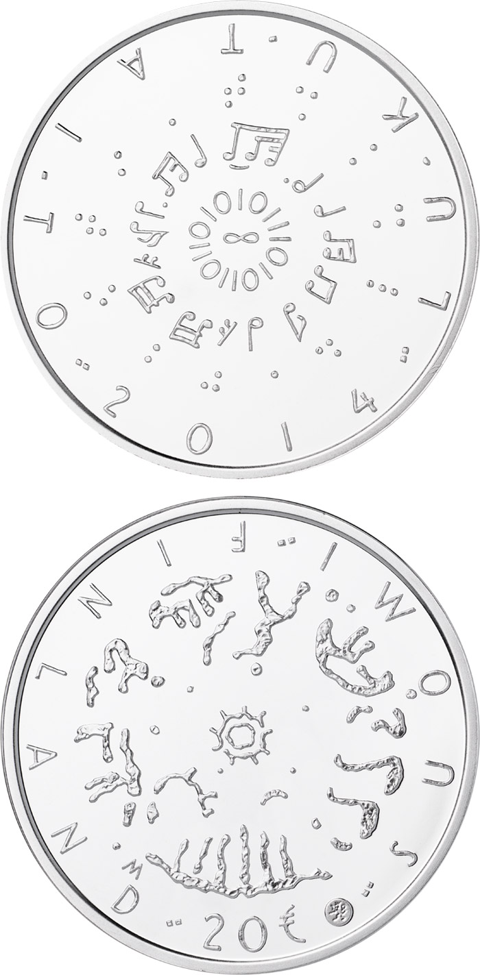 Image of 20 euro coin - Literacy  | Finland 2014.  The Silver coin is of Proof, BU quality.