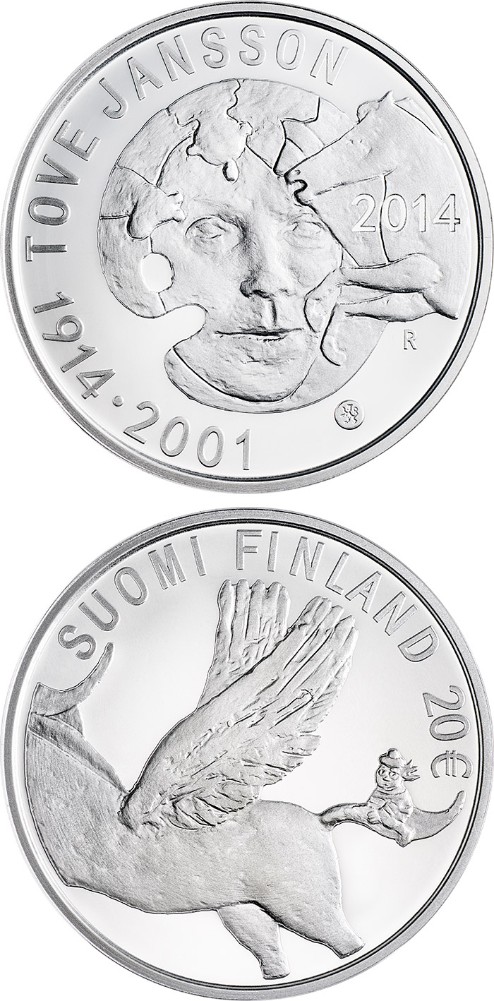 Image of 20 euro coin 100th Anniversary of the Birth of Tove Jansson | Finland 2014.  The Silver coin is of Proof, BU quality.