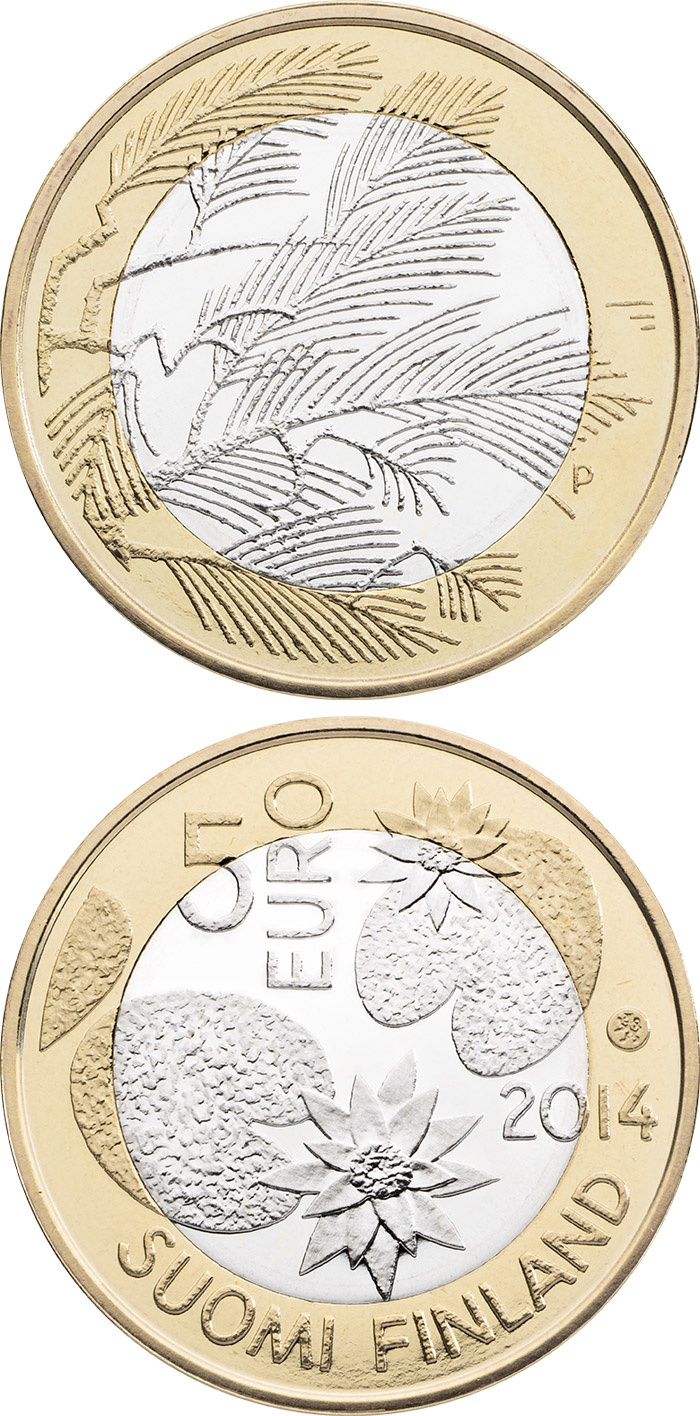 Image of 5 euro coin - Northern Nature – Wilderness | Finland 2014.  The Bimetal: CuNi, nordic gold coin is of Proof, UNC quality.