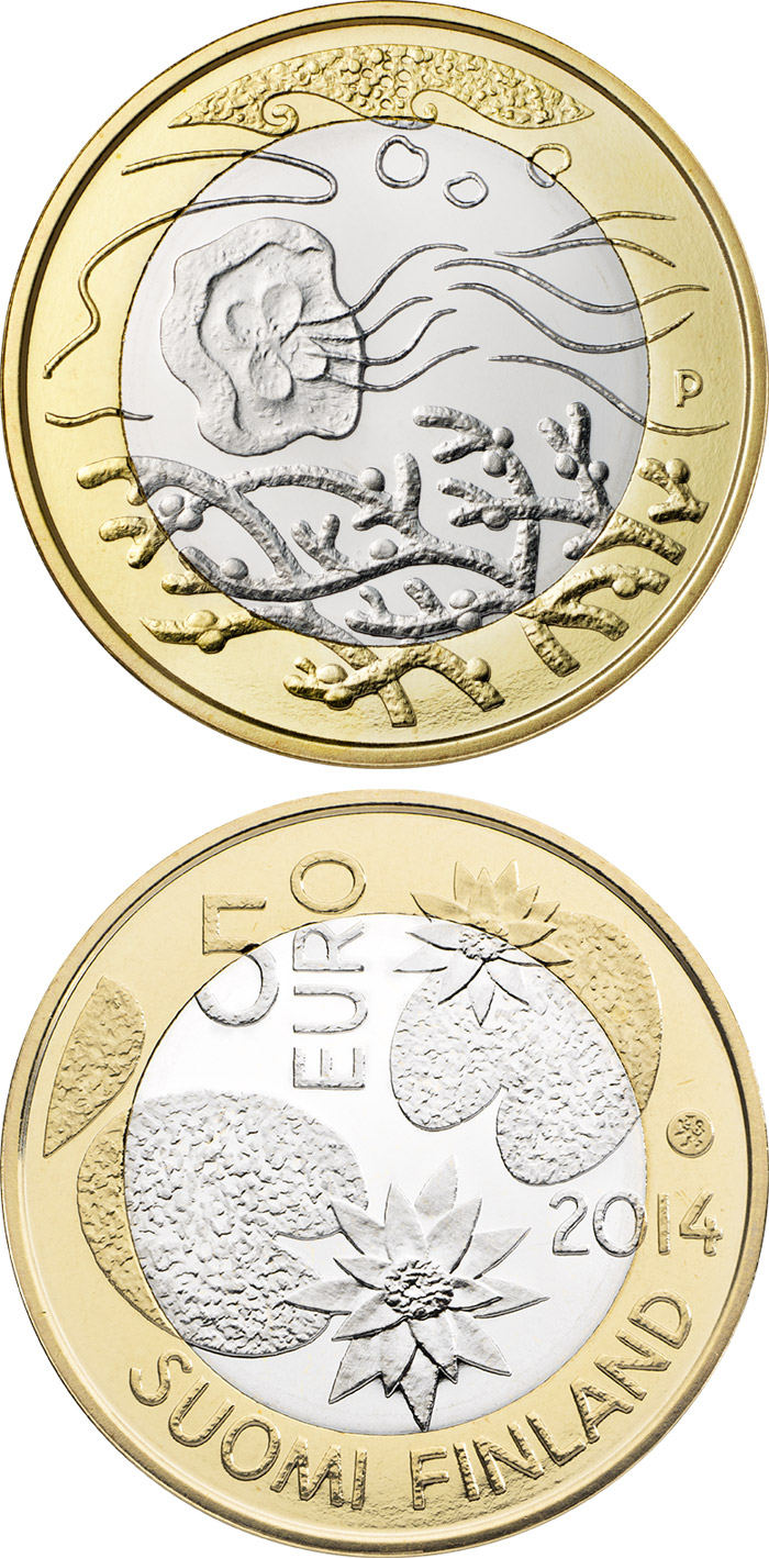Image of 5 euro coin - Northern Nature – Water | Finland 2014.  The Bimetal: CuNi, nordic gold coin is of Proof, UNC quality.
