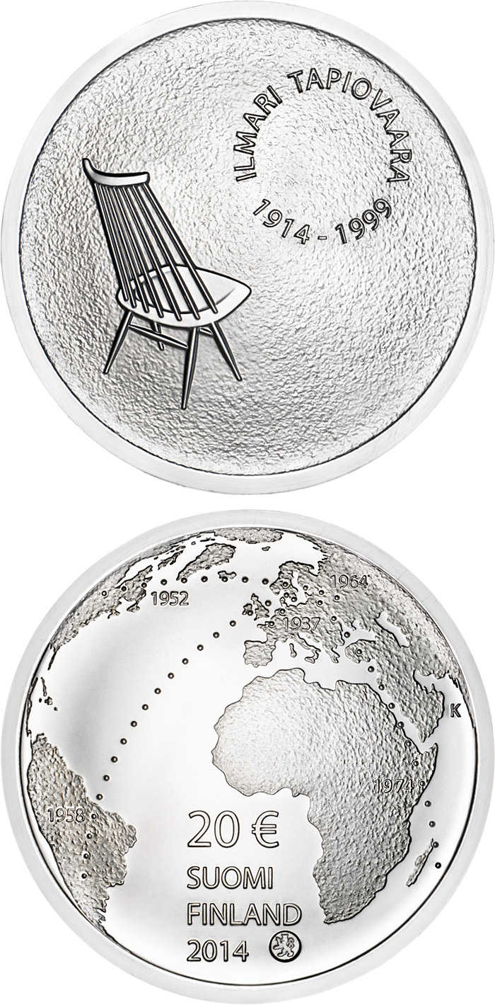 Image of 20 euro coin - Ilmari Tapiovaara and the Art of Interior Design | Finland 2014.  The Silver coin is of Proof, BU quality.