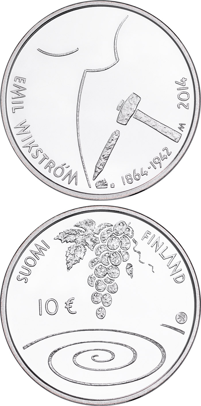 Image of a coin 10 euro | Finland | 400th Anniversary of the Birth of Emil Wikström | 2014