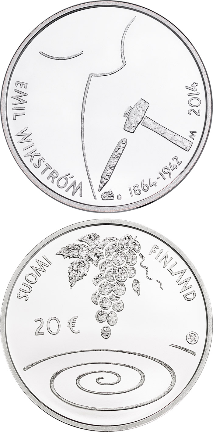Image of a coin 20 euro | Finland | 400th Anniversary of the Birth of Emil Wikström | 2014