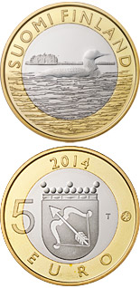 5 euro coin Animals of the Provinces – Savonia: The black-throated loon | Finland 2014