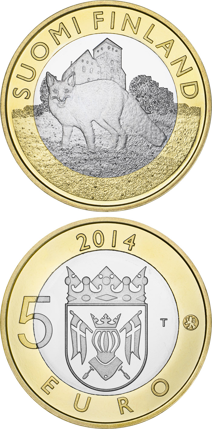 Image of 5 euro coin - Animals of the Provinces – Finland Proper: The Wily Fox | Finland 2014.  The Bimetal: CuNi, nordic gold coin is of Proof, UNC quality.