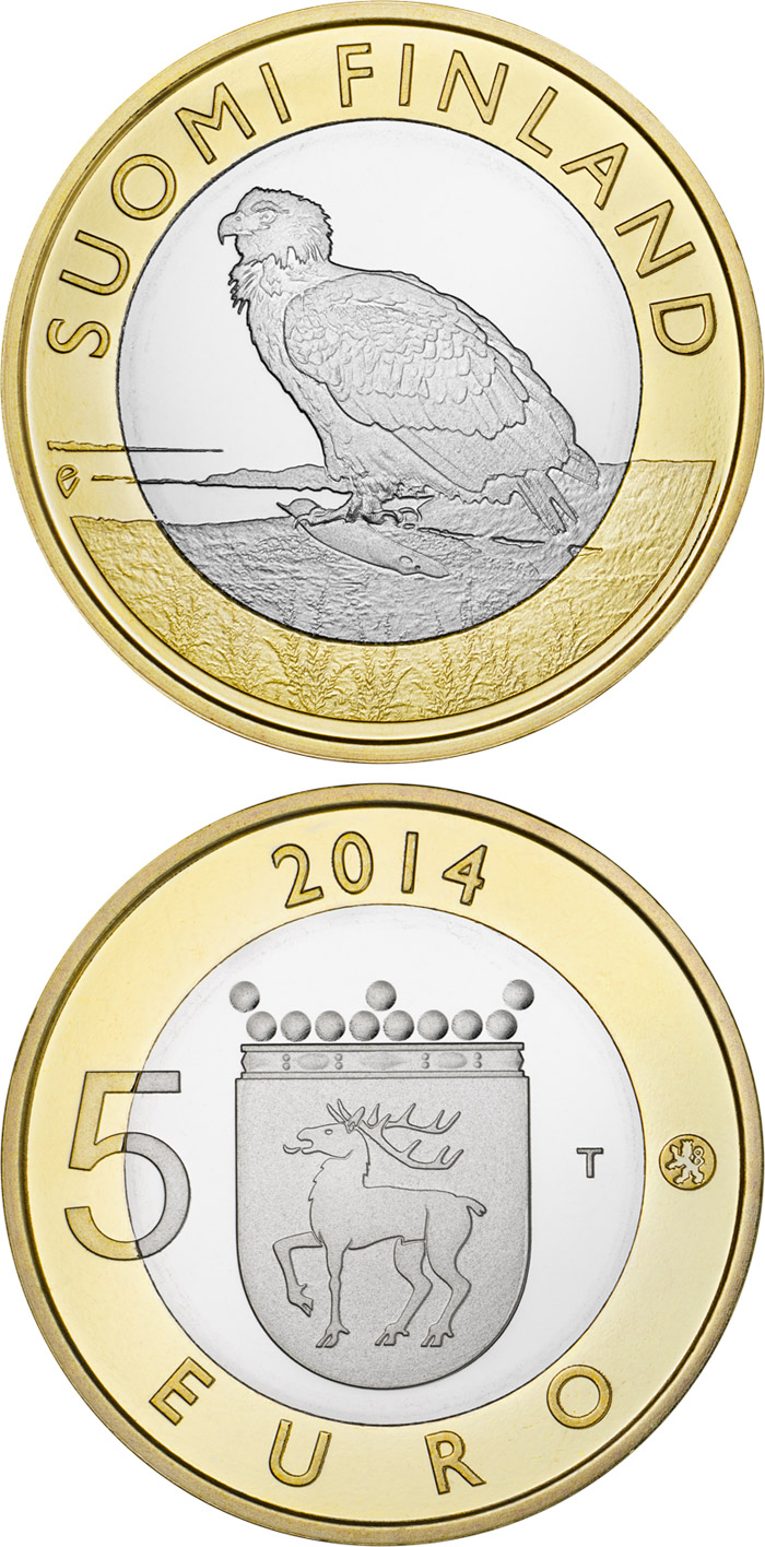 Image of 5 euro coin - Animals of the Provinces – Åland: The  White-tailed Eagle | Finland 2014.  The Bimetal: CuNi, nordic gold coin is of Proof, UNC quality.