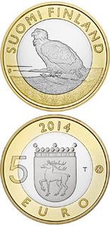 5 euro coin Animals of the Provinces – Åland: The  White-tailed Eagle | Finland 2014