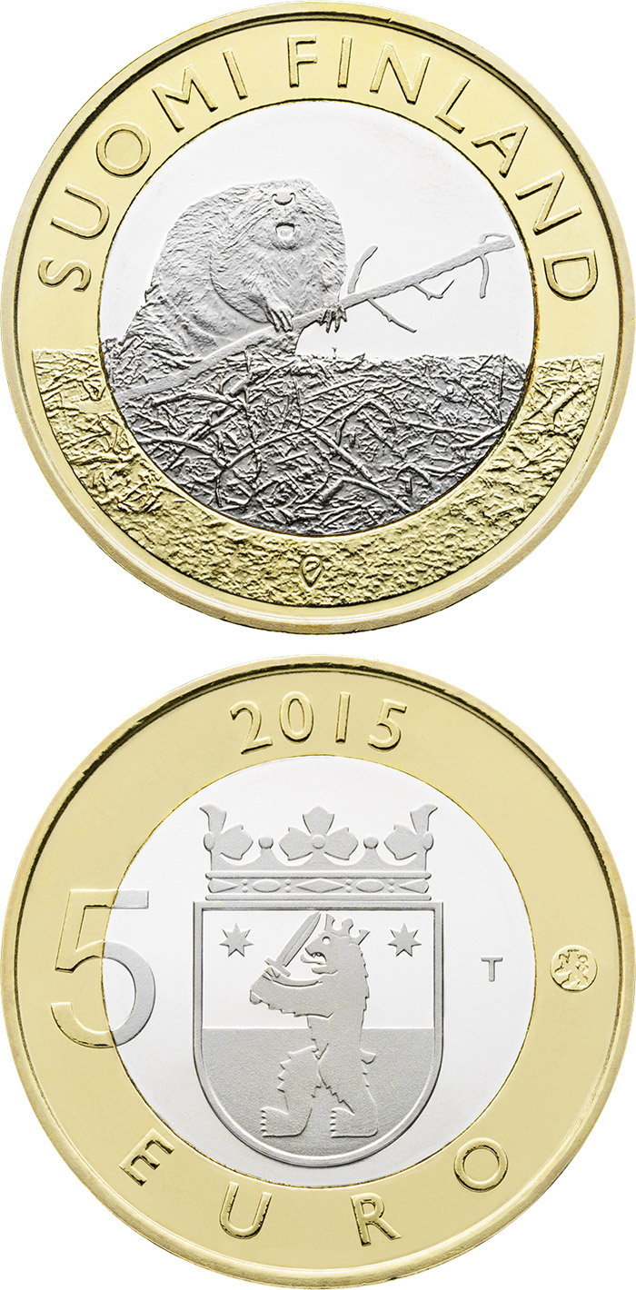 Image of 5 euro coin - Animals of the Provinces – Satakunta | Finland 2015.  The Bimetal: CuNi, nordic gold coin is of Proof, UNC quality.