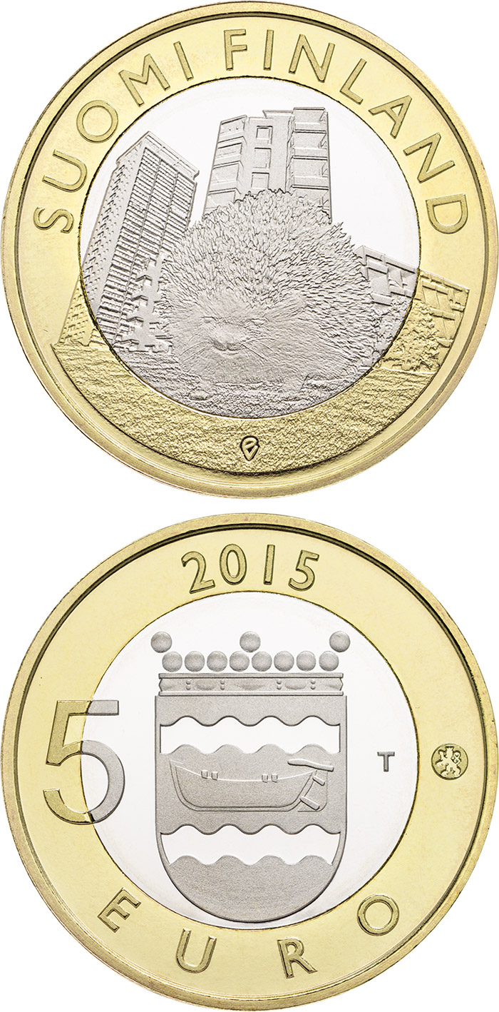 Image of 5 euro coin Animals of the Provinces – Uusimaa | Finland 2015.  The Bimetal: CuNi, nordic gold coin is of Proof, UNC quality.