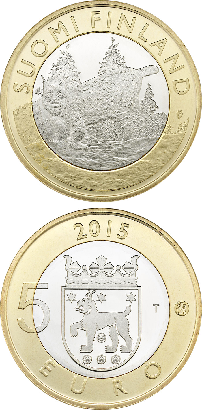 Image of a coin 5 euro | Finland | Animals of the Provinces – Tavastia | 2015