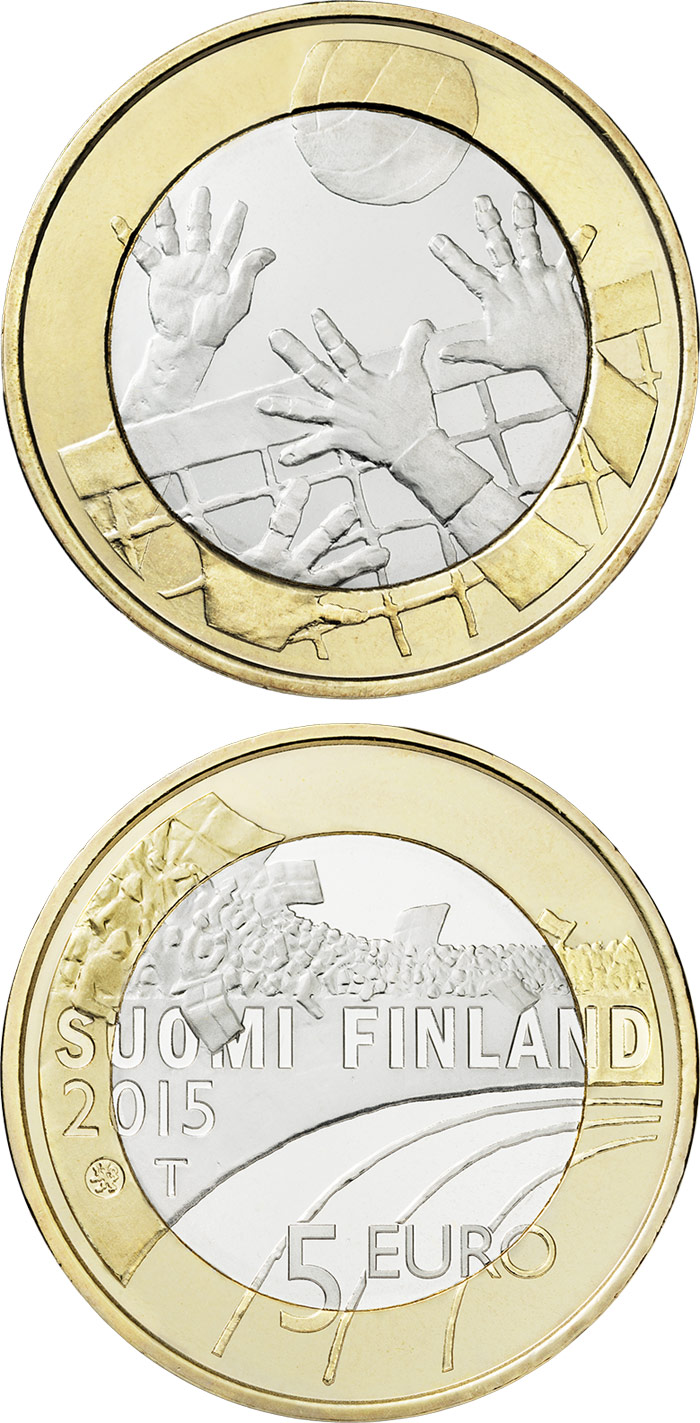 Image of 5 euro coin - Volleyboll  | Finland 2015.  The Bimetal: CuNi, nordic gold coin is of Proof, UNC quality.