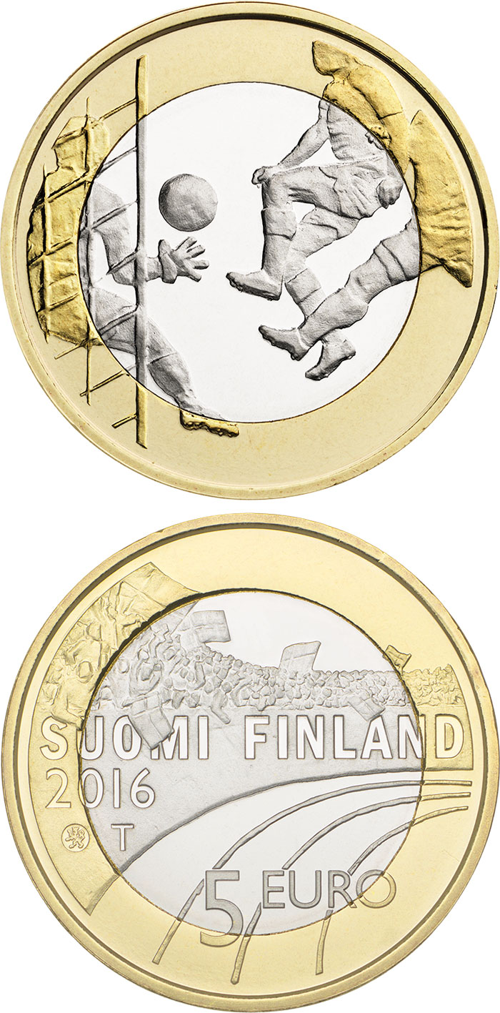Image of 5 euro coin Football  | Finland 2016.  The Bimetal: CuNi, nordic gold coin is of Proof, UNC quality.