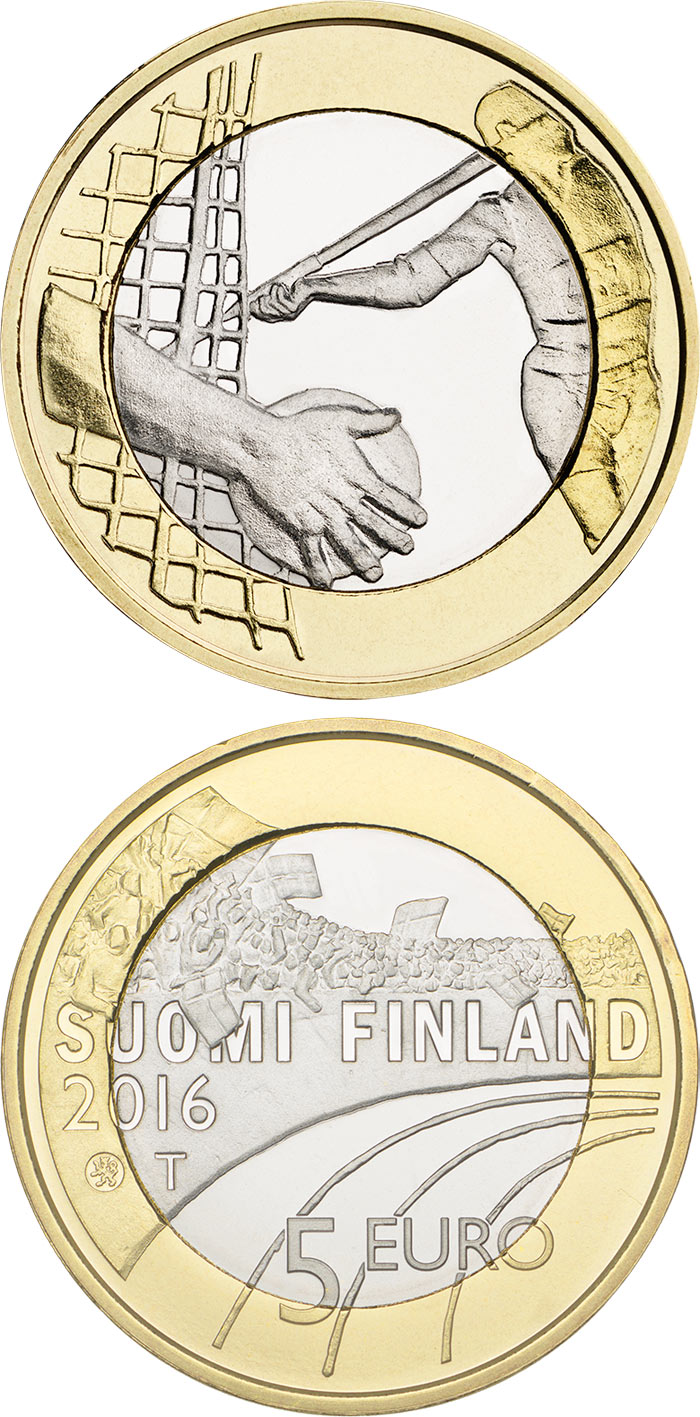 Image of 5 euro coin Athletics  | Finland 2016.  The Bimetal: CuNi, nordic gold coin is of Proof, UNC quality.