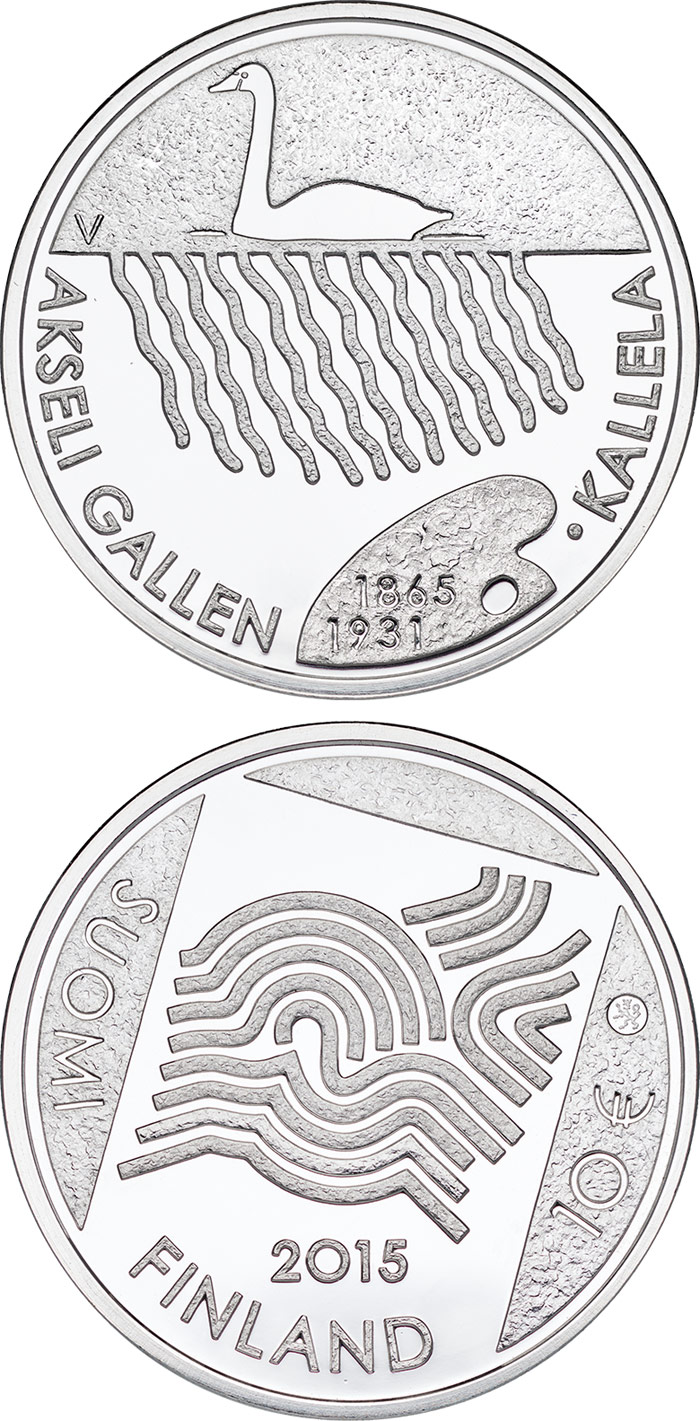 Image of 10 euro coin - 150th Anniversary of the Birth of Akseli Gallen-Kallela | Finland 2015