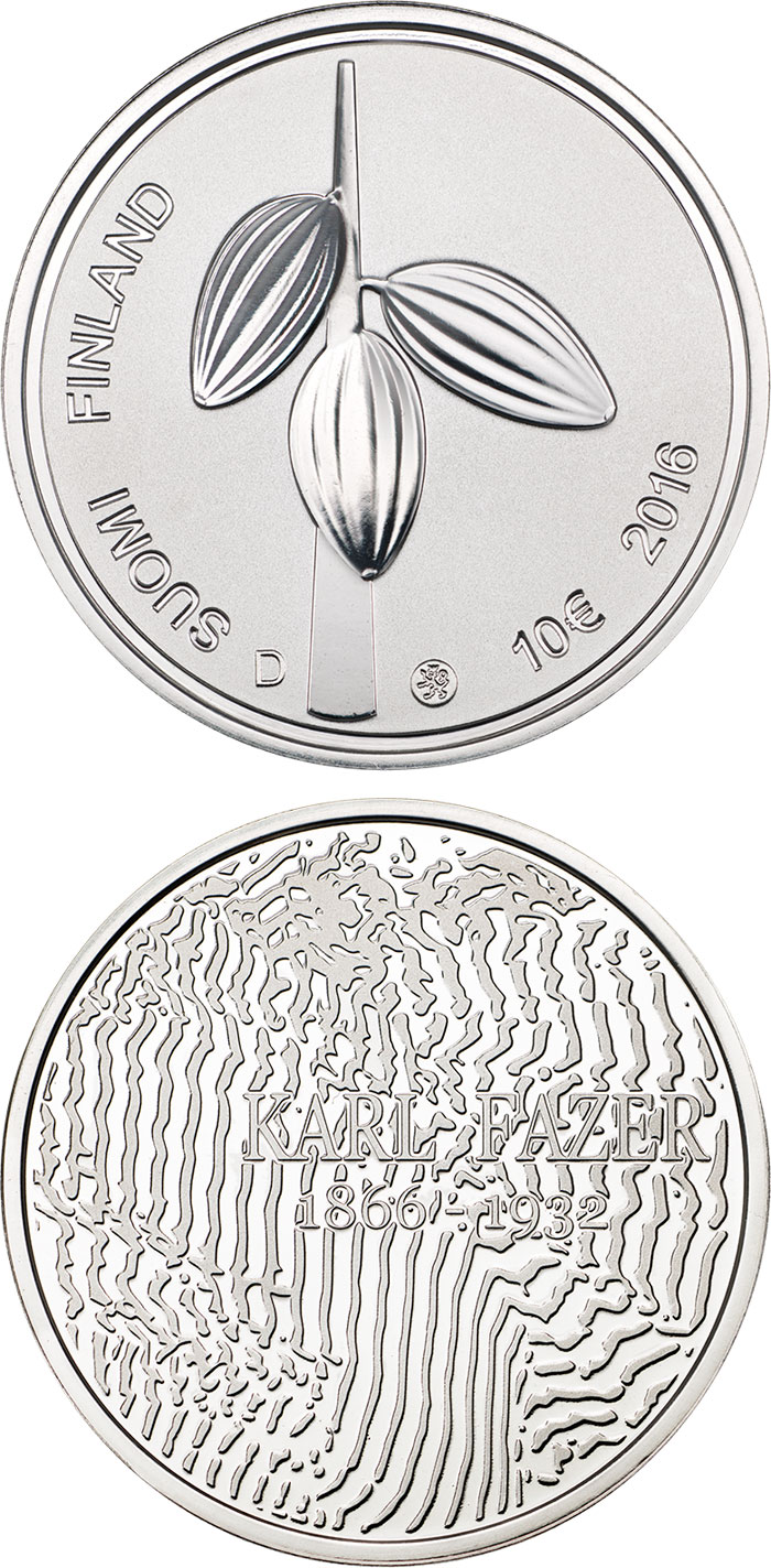 Image of 10 euro coin - 150th Anniversary of the Birth of Karl Fazer | Finland 2016