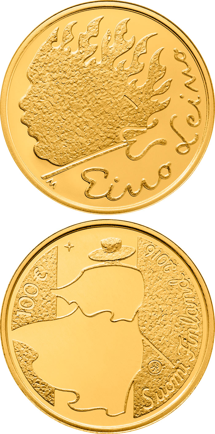 Image of 100 euro coin - Eino Leino | Finland 2016.  The Gold coin is of Proof quality.