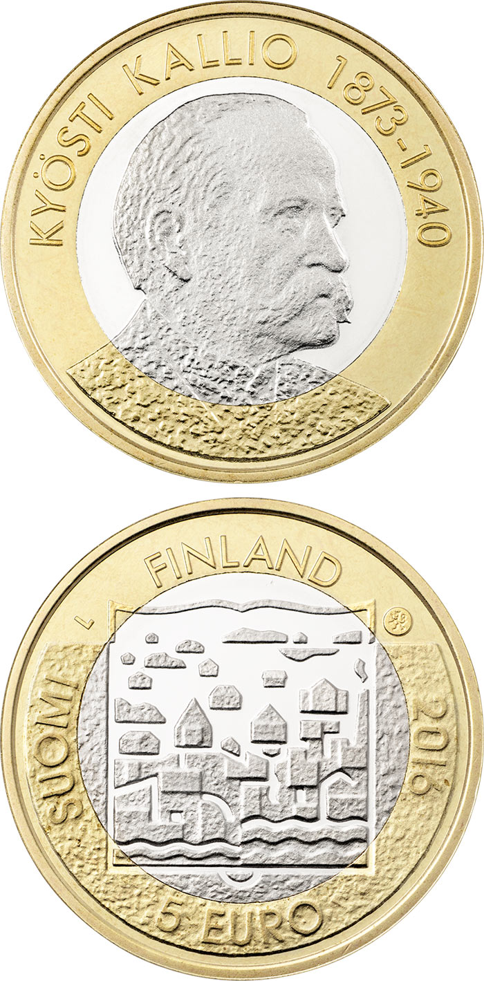 Image of 5 euro coin - Kyösti Kallio | Finland 2016.  The Bimetal: CuNi, nordic gold coin is of Proof, UNC quality.