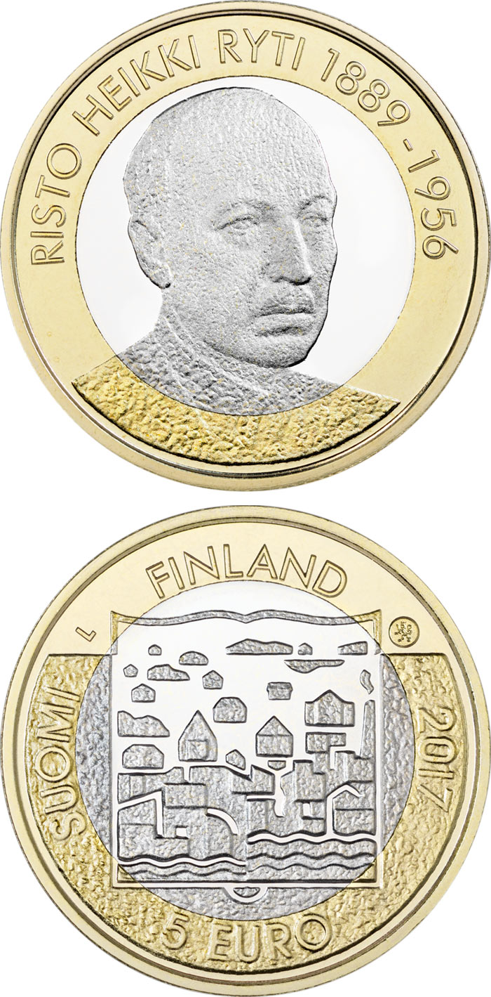 Image of 5 euro coin - Risto Ryti | Finland 2017.  The Bimetal: CuNi, nordic gold coin is of Proof, UNC quality.