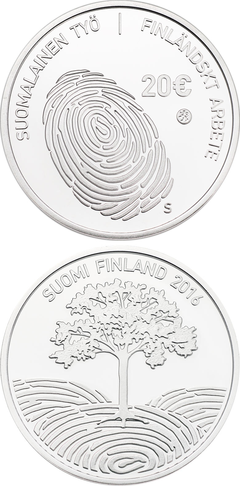 Image of 20 euro coin - Finnish work | Finland 2016.  The Silver coin is of Proof, BU quality.