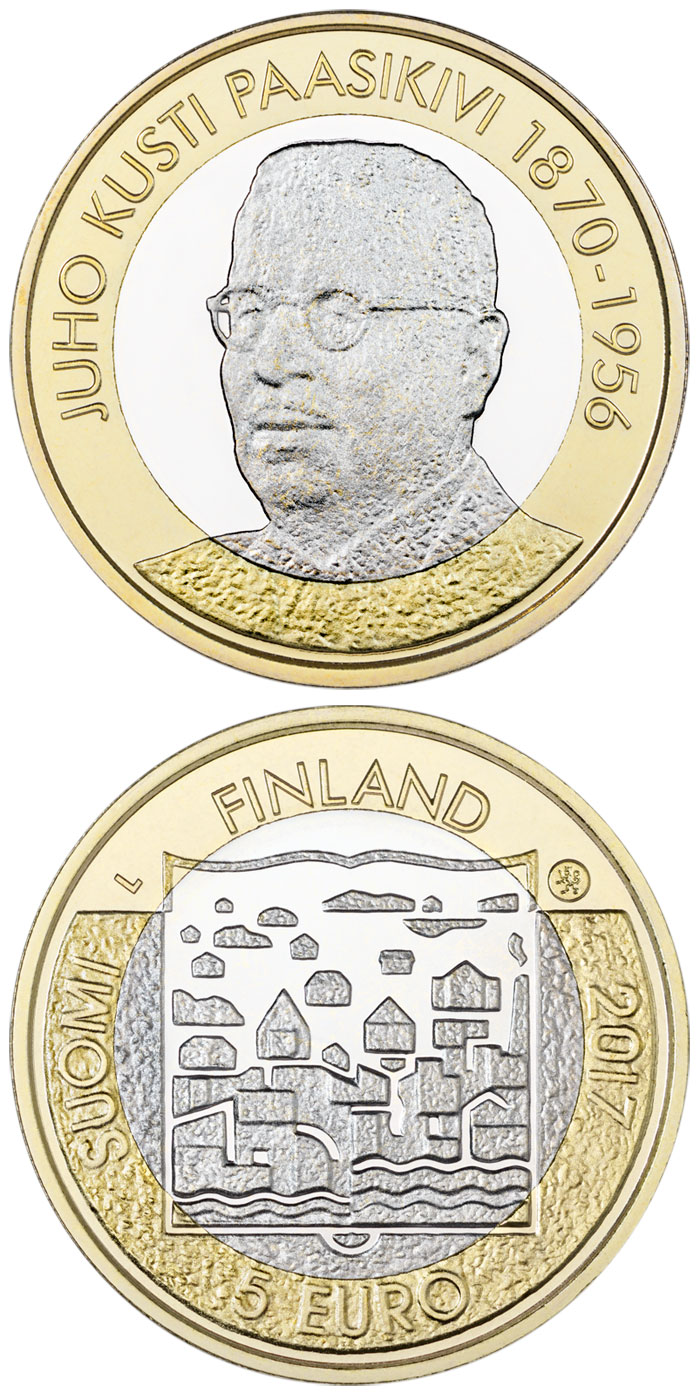 Image of 5 euro coin - J.K.Paasikivi | Finland 2017.  The Bimetal: CuNi, nordic gold coin is of Proof, UNC quality.