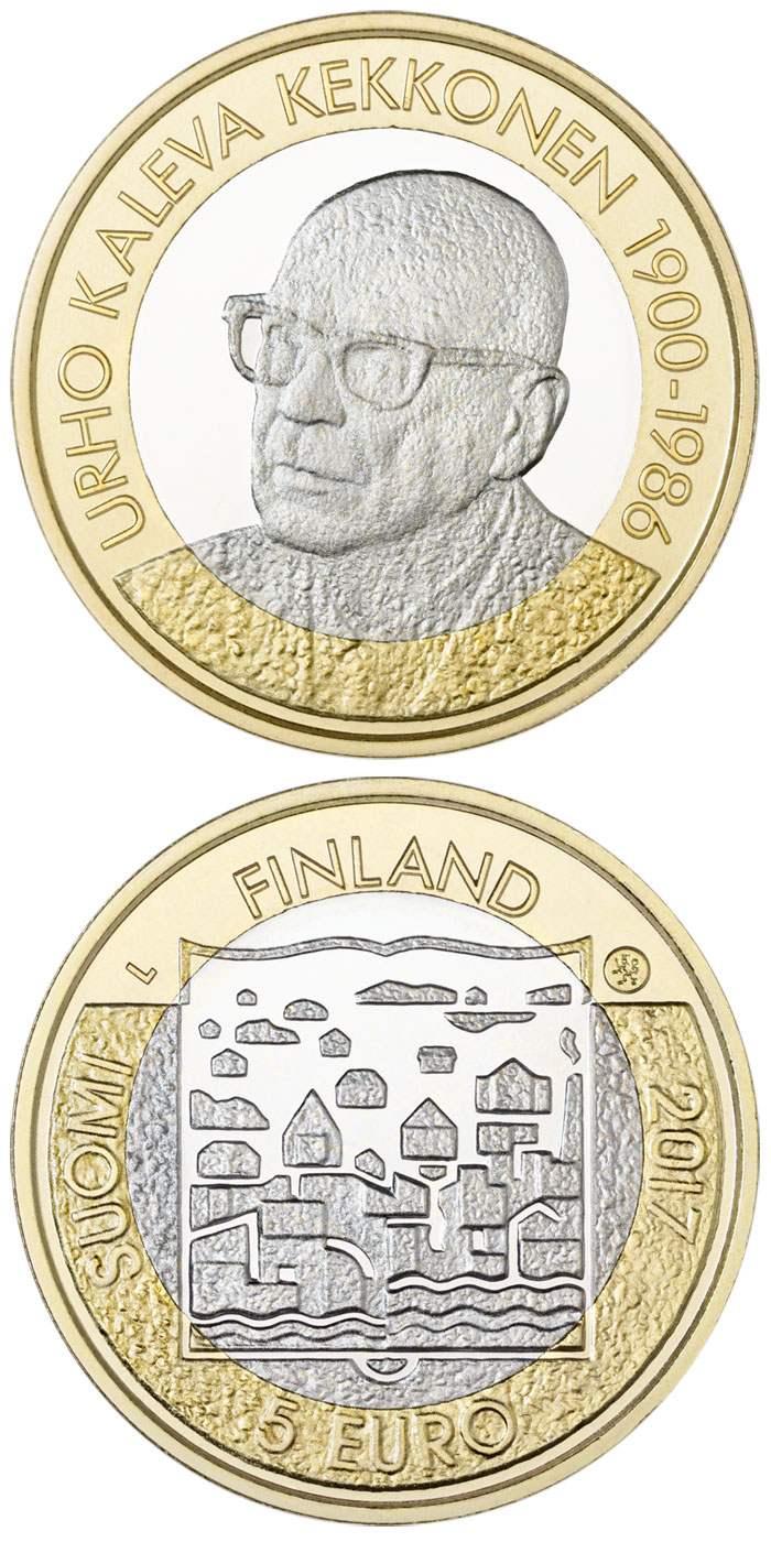 Image of 5 euro coin - U.K.Kekkonen | Finland 2017.  The Bimetal: CuNi, nordic gold coin is of Proof, UNC quality.