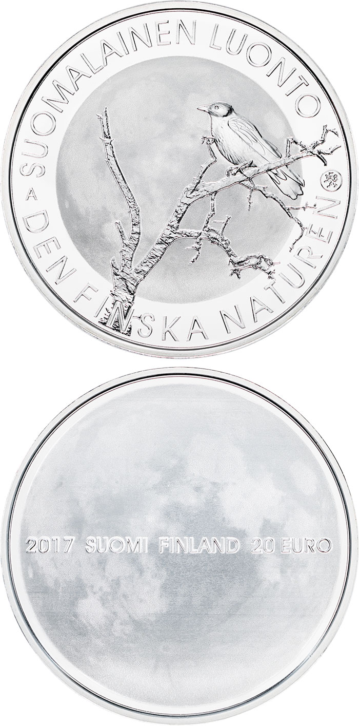 Image of 20 euro coin - Finnish nature | Finland 2017.  The Silver coin is of Proof, BU quality.