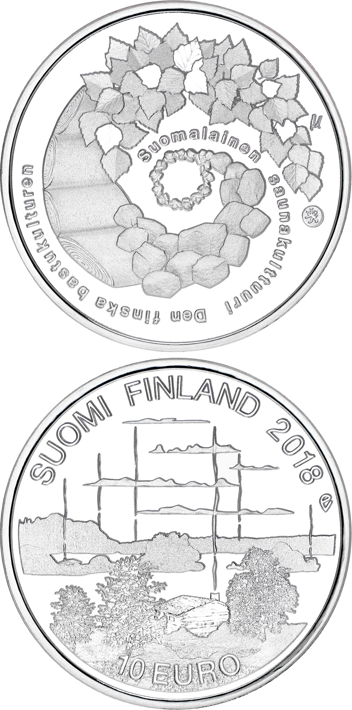 Image of 10 euro coin – Finnish sauna culture | Finland 2018