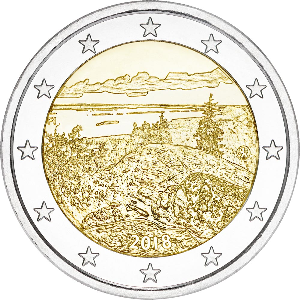 Image of 2 euro coin - Koli National Park | Finland 2018