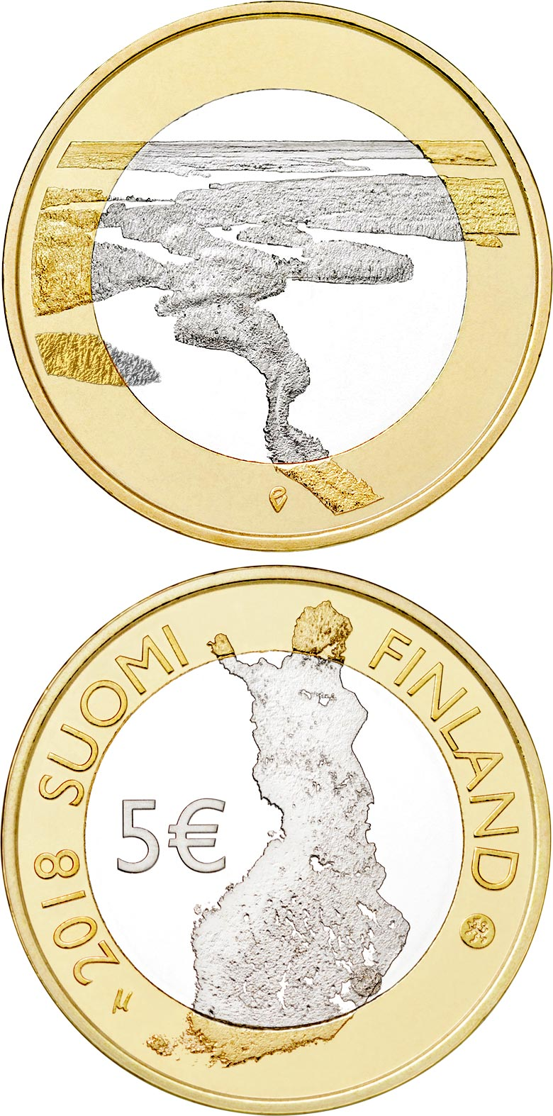 Image of 5 euro coin – Punkaharju Ridge | Finland 2018.  The Bimetal: CuNi, nordic gold coin is of Proof, UNC quality.