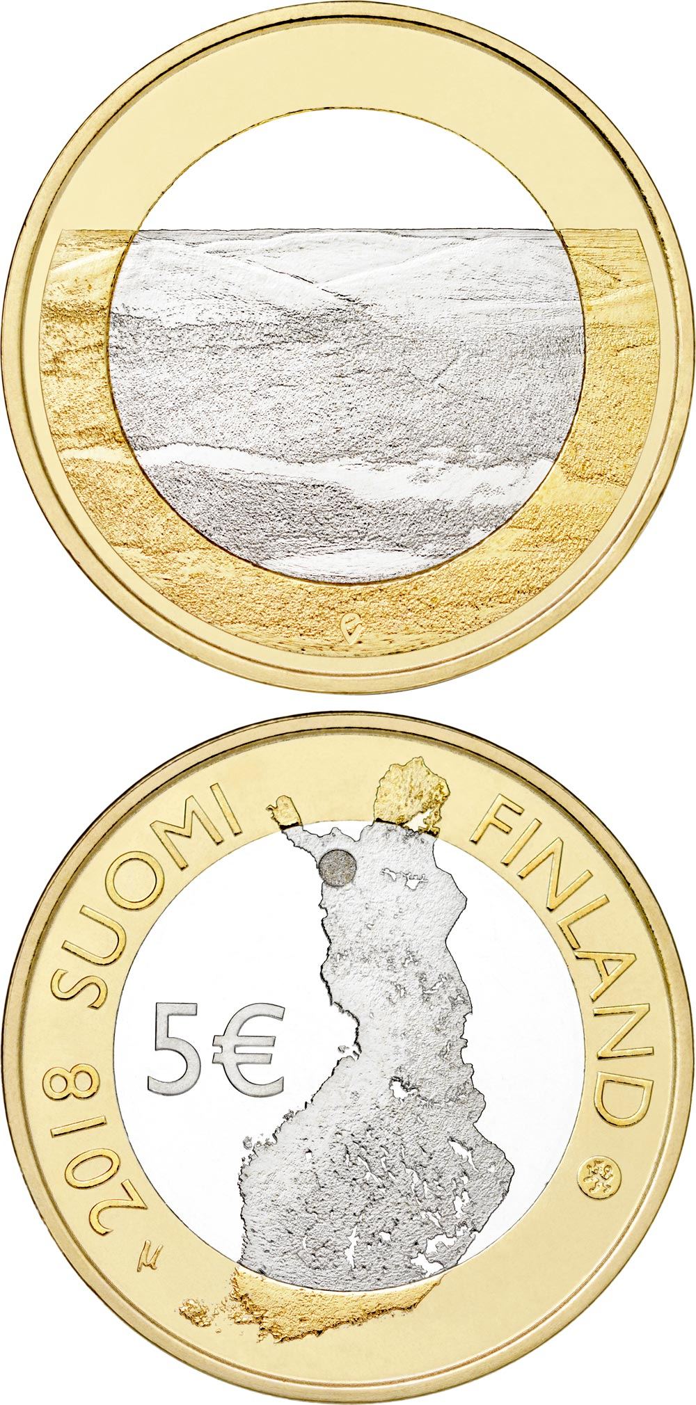 Image of 5 euro coin - Pallastunturi Fells | Finland 2018.  The Bimetal: CuNi, nordic gold coin is of Proof, UNC quality.