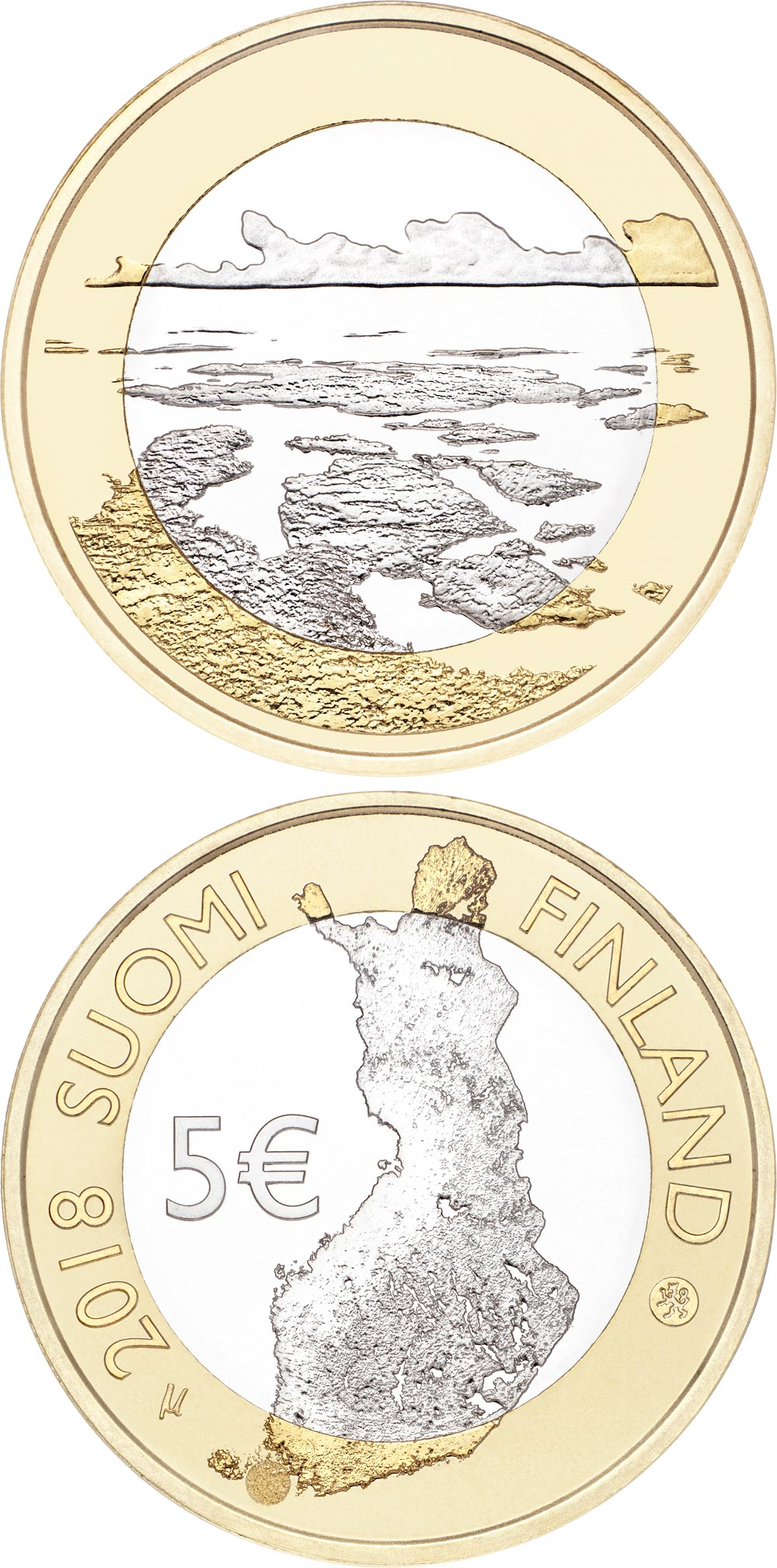 Image of 5 euro coin – The Archipelago Sea | Finland 2018.  The Bimetal: CuNi, nordic gold coin is of Proof, UNC quality.