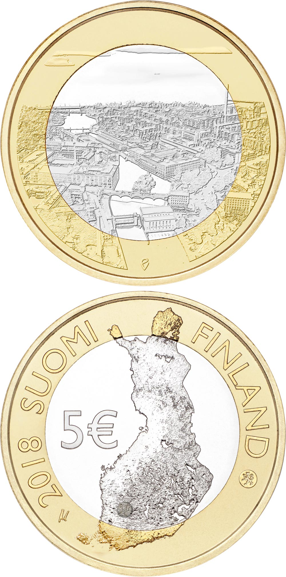 Image of 5 euro coin - Tammerkoski rapids | Finland 2018.  The Bimetal: CuNi, nordic gold coin is of Proof, UNC quality.