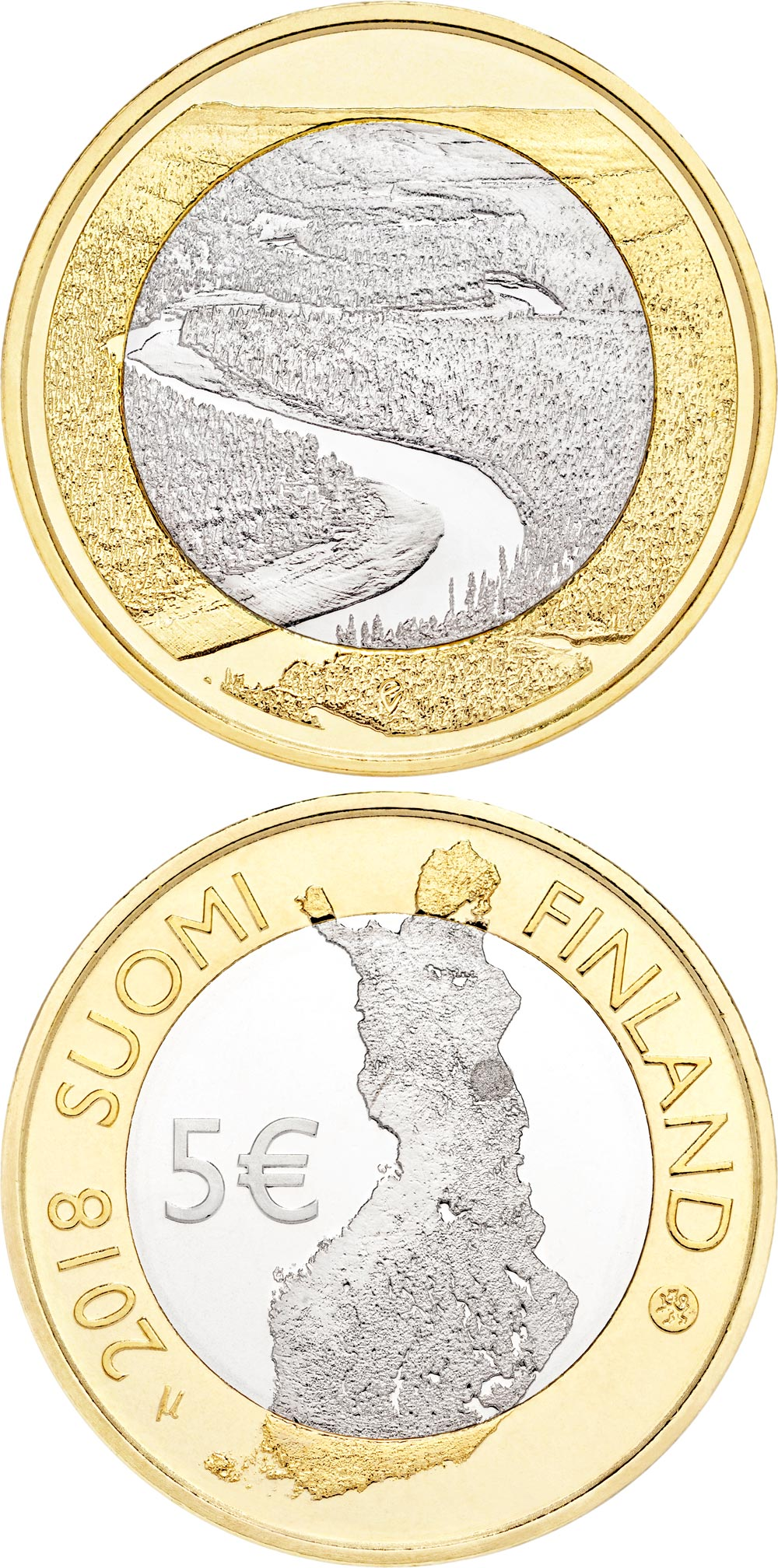 Image of 5 euro coin - Oulankajoki river natural and cultural landscapes | Finland 2018.  The Bimetal: CuNi, nordic gold coin is of Proof, UNC quality.