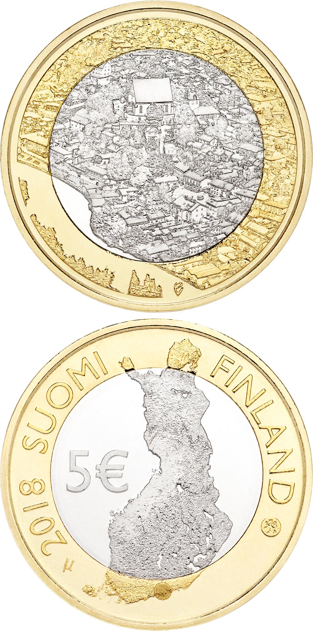 Image of 5 euro coin – Porvoonjoki river valley and old Porvoo | Finland 2018.  The Bimetal: CuNi, nordic gold coin is of Proof, UNC quality.