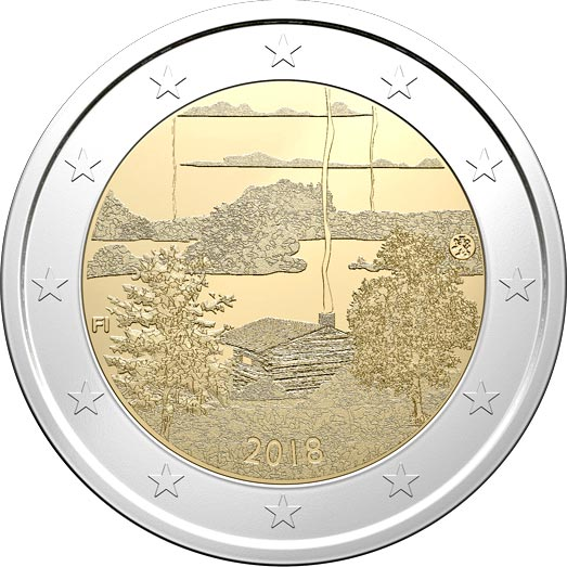 Image of 2 euro coin – Finnish sauna culture | Finland 2018